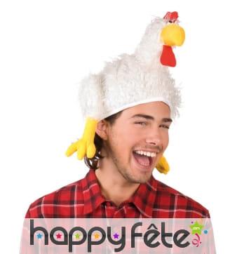 Chapeau de coq blanc de supporter