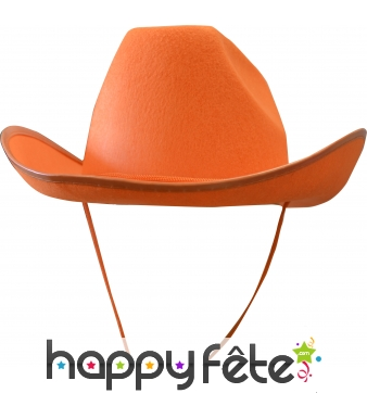 Chapeau de cow-boy orange adulte