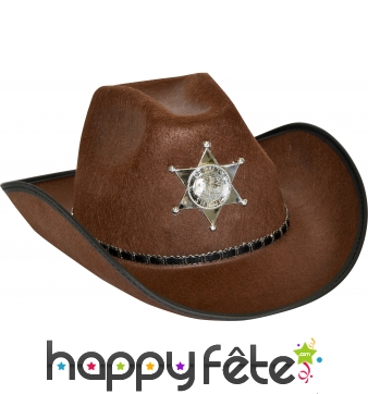 Chapeau de cow-boy shérif marron adulte