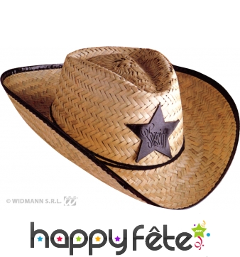 Chapeau de cow boy sheriff en paille adulte