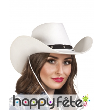 Chapeau de cowboy blanc en feutrine