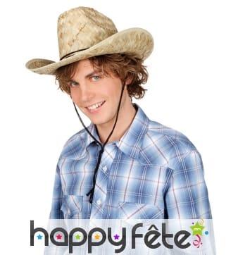 Chapeau de cowboy en paille pour adulte