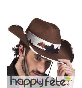 Chapeau de cowboy marron ruban vachette