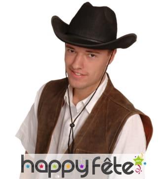 Chapeau de cowboy noir avec bords recourbés