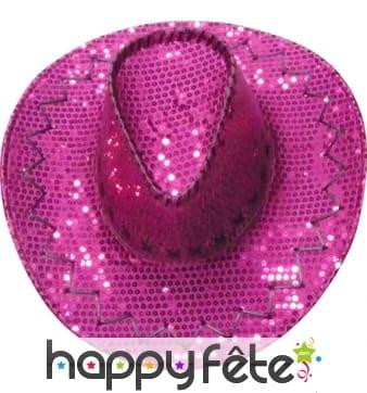 Chapeau de cowboy paillettes rose