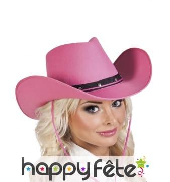 Chapeau de cowboy rose en feutrine