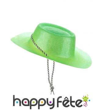 Chapeau de cowgirl vert pailletté