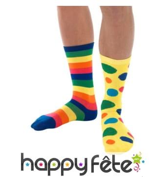 Chaussettes de clown dépareillées