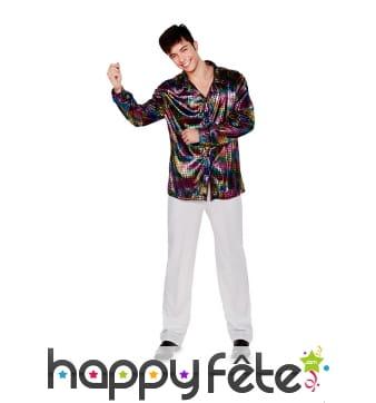 Chemise disco colorée et satinée pour homme