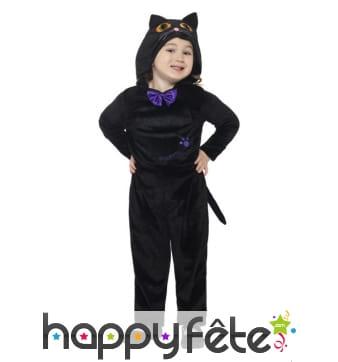 Combinaison de chat noir pour enfant, à capuche
