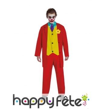 Combinaison de clown pour adulte, rouge et jaune