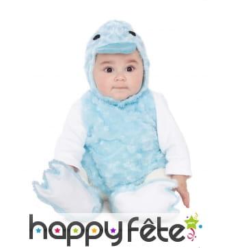 Costume de canard bleu pour bébé, effet peluche