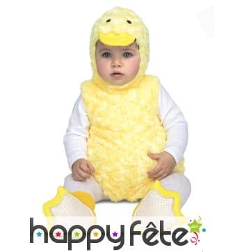 Costume de canard jaune pour bébé, effet peluche