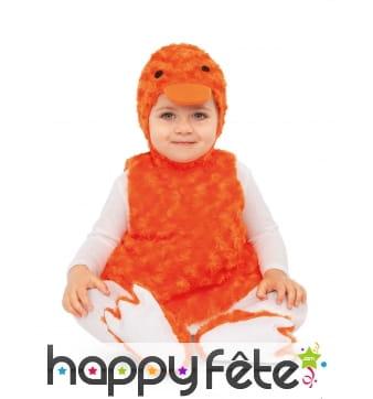 Costume de canard orange pour bébé, effet peluche