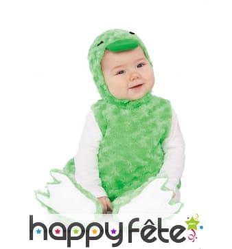 Costume de canard vert pour bébé, effet peluche