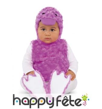 Costume de canard violet pour bébé, effet peluche