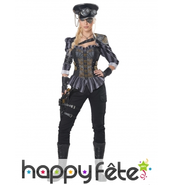 Costume de capitaine steampunk pour femme adulte