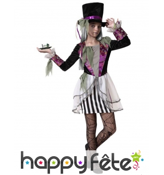 Costume de chapelier fou type halloween pour fille