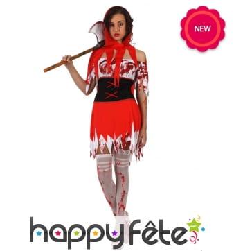 Costume de chaperon rouge ensanglanté pour femme