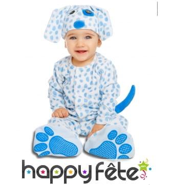 Costume de chiot bleu pour bébé, luxe