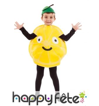 Costume de citron jaune pour enfant