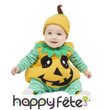 Costume de citrouille pour bébé, orange et vert