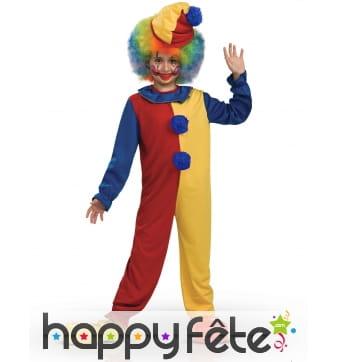 Costume de clown bicolore jaune rouge pour enfant