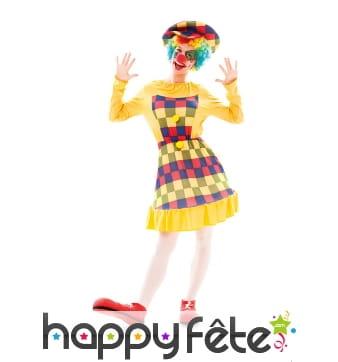 Costume de clown jaune à carreaux pour femme