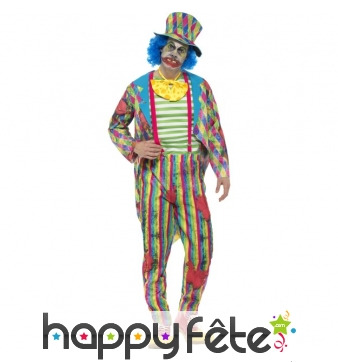 Costume de clown patchwork effet sali