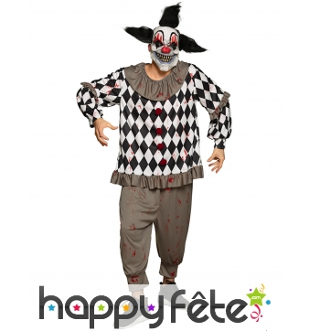 Costume de clown psychopathe ensanglanté, homme