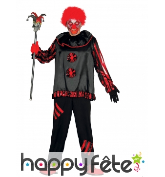 Costume de clown psychopathe rouge et noir, adulte