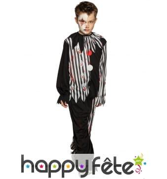 Costume de clown sinistre taché de sang, enfant