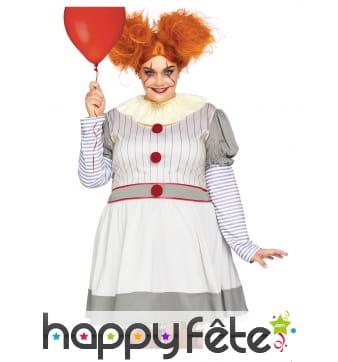 Costume de clown tueur grande taille pour femme