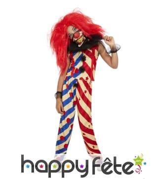 Costume de clown tueur manches courtes pour fille