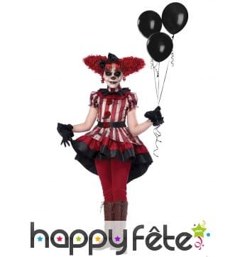 Costume de clown tueur rouge et noir pour fille