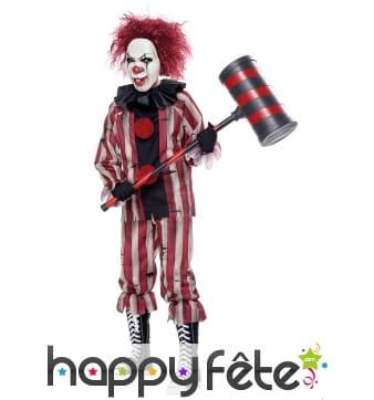 Costume de clown tueur rouge et noir pour garçon