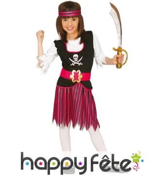 Costume de Corsaire rayé rose et noire pour fille