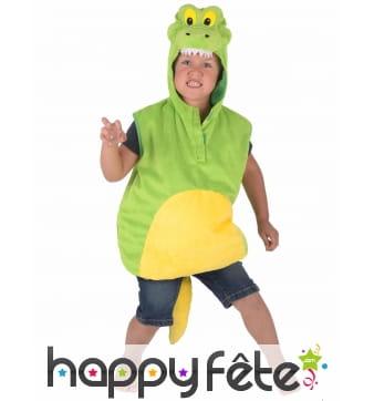 Costume de crocodile vert pour enfant, rembourré