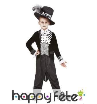 Costume du chapelier fou pour garçon, noir blanc