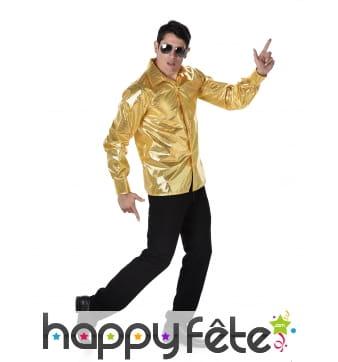 Chemise disco dorée avec sequins