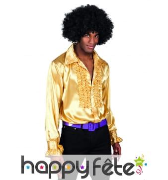 Chemise dorée disco ruche pour homme