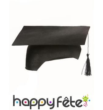 Coiffe de diplômé en feutrine noire