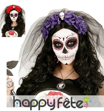 Coiffe Dia de los muertos avec voile et fleurs