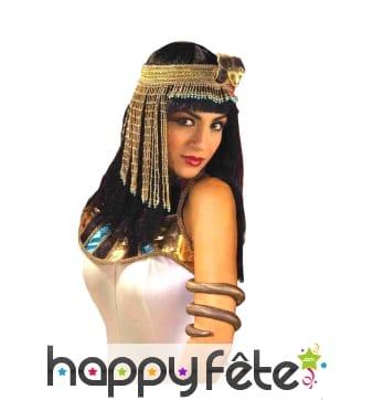 Coiffe dorée d'Egyptienne, perles et franges
