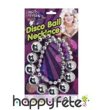 Collier disco de boules à facettes