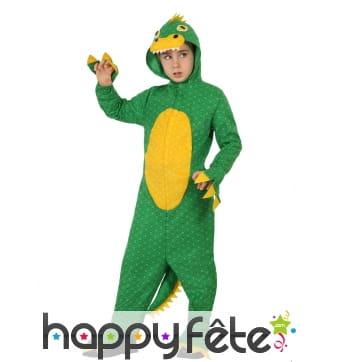 Combinaison de dinosaure vert jaune pour enfant