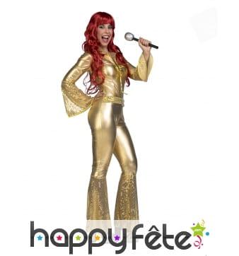 Combinaison disco dorée pour femme