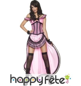 Costume danseuse de saloon sexy rose