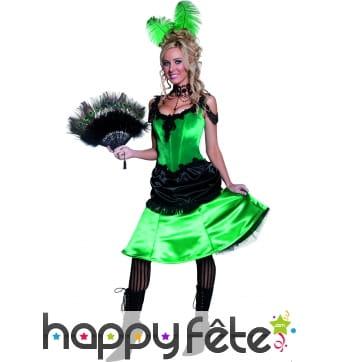 Costume danseuse de saloon sexy vert