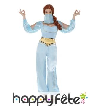 Costume de danseuse orientale bleu pour femme